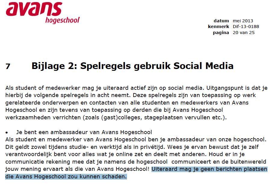 Social Media Richtlijnen Avans Hogeschool