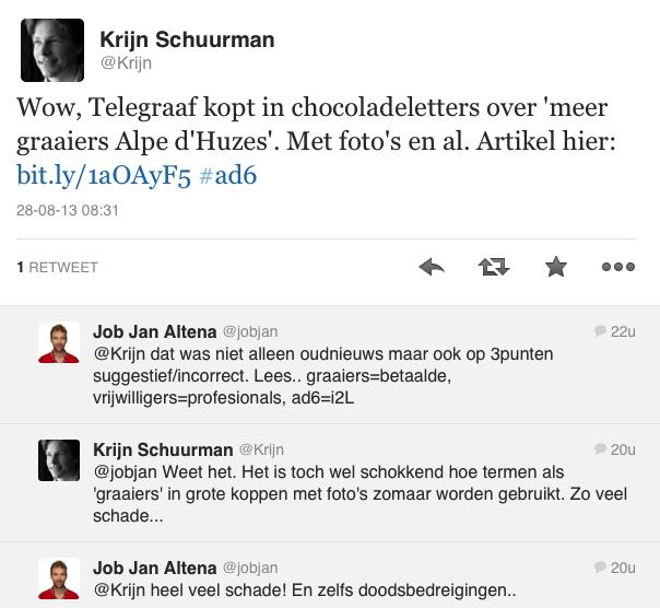 Doodsbedreigingen na bericht in Telegraaf