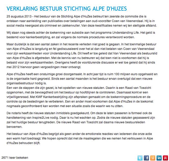 Aangepaste verklaring bestuur Alpe d'HuZes